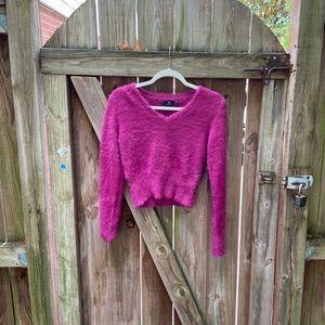 GORGEOUS Fuzzy Fuchsia Cropped Sweater